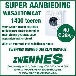 Wasmachine 1400 toeren €299