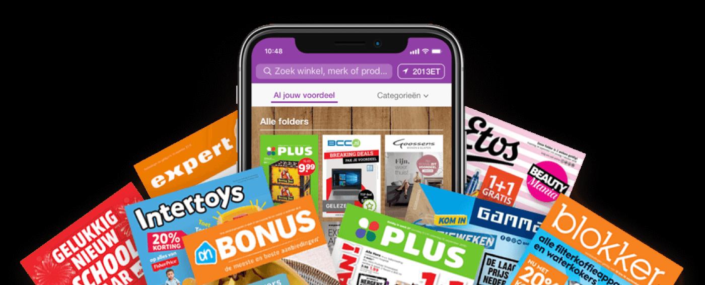 Smartphone met de Reclamefolder.nl App